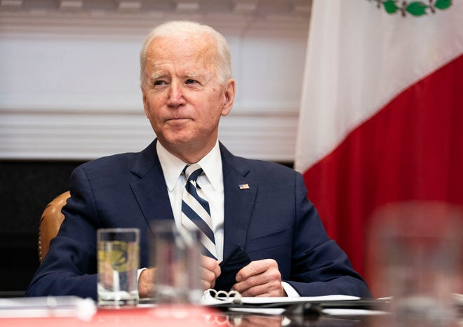 President Joe Biden participates in a virtual bilateral meeting with President Andras Manuel Lopez Obrador of Mexico in the Roosevelt Room of the White House in Washington, D.C., on March 1, 2021.