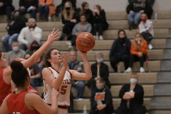 Kirksville's Corinne Vorkink goes up for a layup during the fourth quarter of Monday's Class 5 District 15 game against Marshall.