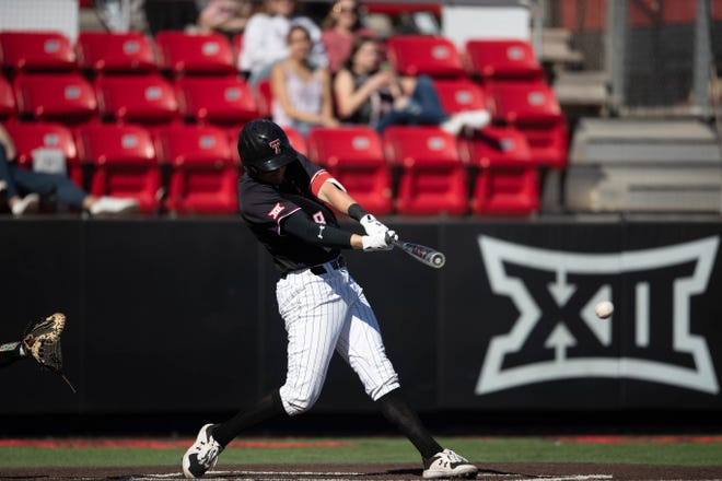 Texas Tech's Kurt Wilson attempts to swing at a ball during a nonconference game Tuesday, March 2, 2021, against Texas Southern at Dan Law Field at Rip Griffin Park. [Brandon Brieger/Texas Tech Athletics]