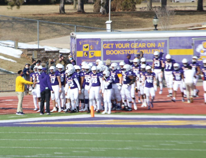 The Western Illinois football team gathers before Saturday's game against Missouri State.
