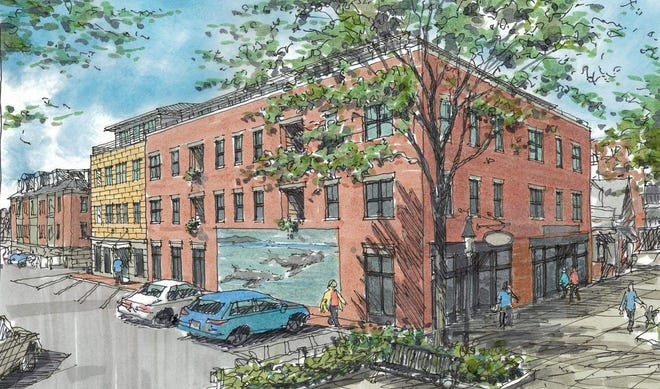 An artist's rendering shows the proposed 64 Vaughan St. renovation project in Portsmouth, as seen from Vaughan Mall.