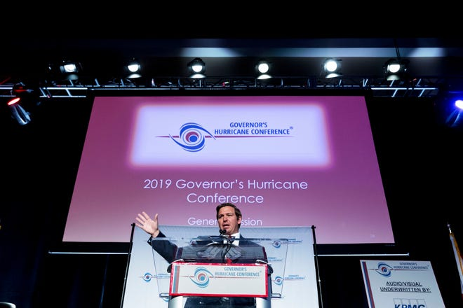 Florida Governor Ron DeSantis speaks at the Governor's Hurricane Conference at the Palm Beach County Convention Center on May 15, 2019 in West Palm Beach, Florida. [GREG LOVETT/palmbeachpost.com]