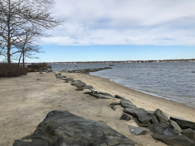 Sally Rock Point includes a series of rocks that stretch from the beach into Greenwich Bay from the northeast corner of Goddard Memorial State Park in Warwick.