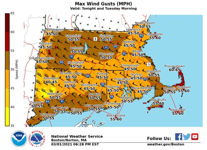 The National Weather Service is forecasting wind gusts up to 50 mph for much of Rhode Island, 55 mph along the coast and 60 mph on Block Island.
