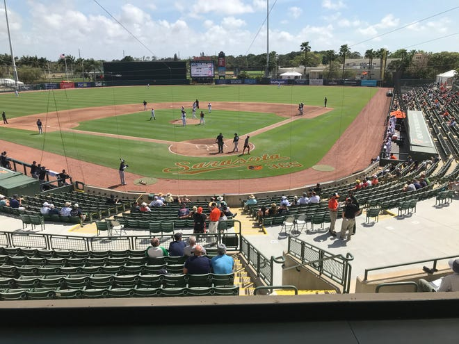 A view on Tuesday from the Ed Smith Stadium press box for the Orioles' game against the New York Yankees.