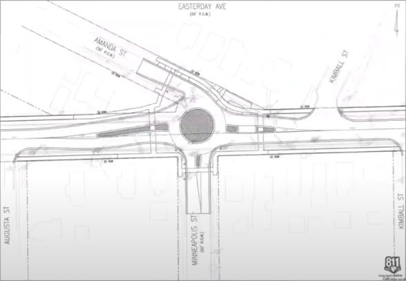 A blueprint of the first roundabout to be placed on East Easterday Street. The project is expected to be completely done with grass growing around the site about 2023.