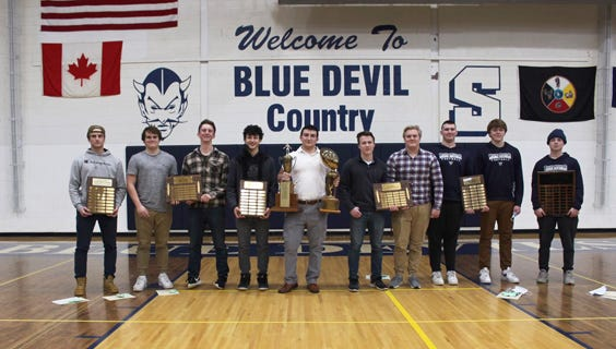 The Sault High varsity football team recently competed its postseason awards presentations. The Blue Devils finished 6-3 this past season, advancing to the Division 3 district championship game for a second straight year. The Sault varsity award winners include, from left to right: Vinnie Febles (Weston Heart and Determination Award), Ryan LaPlaunt and Bennette Swanson (Co-winners of the Casey Unsung Hero Award), John Robinson (Most Improved), Daylan Lujan (Defensive MVP and Overall Team MVP), Jakob Davie and Kris Pearce (Co-winners of the Offensive MVP), John Burke and Callen Campbell (Co-winners of the Most Valuable Lineman Award), Riddick LaPine (Tavern Spirit and Loyalty Award).