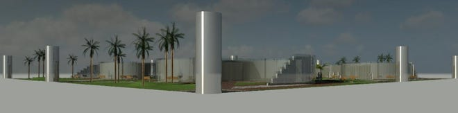 An artist's rendering of a memorial to enslaved peoples proposed by Kwesi DeGraft-Hanson.