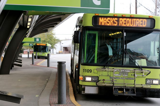 Chatham Area Transit buses idle at the downtown transportation hub.