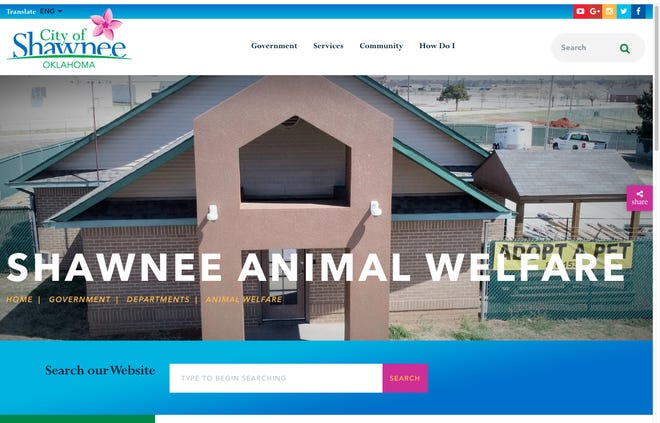 Shawnee's Animal Shelter, at 1900 W. Independence. Shown is a photo of its website page, at http://www.shawneeok.org/government/animal_welfare/online_shelter.php.