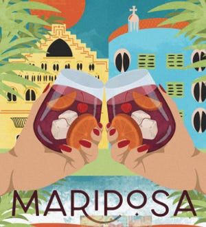 A promotional poster for Mariposa Tapas Bar, which is planned to open in late April in Wilmington