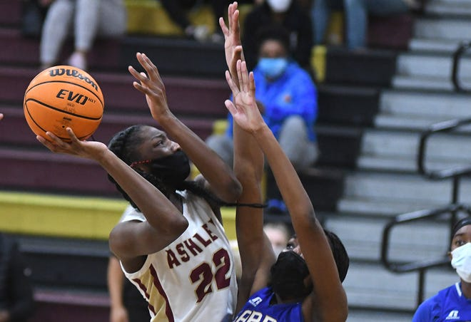 Ashley's Saniya Rivers looks for room to shoot against Garner on Tuesday night in the NCHSAA 4A East Regional championship game. The Screaming Eagles' season came to an end in a 73-67 loss.
