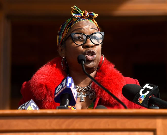 Hartford, CT - 2/24/21 - Rep. Robyn Porter speaks at a press conference held by the Black and Puerto Rican caucus outside the State Capitol Wednesday