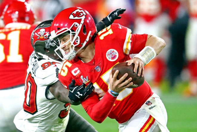 Kansas City Chiefs quarterback Patrick Mahomes, who was hobbled throughout the playoffs with a turf toe injury, had surgery on Feb. 10 but is expected to be available for offseason workouts, general manager Brett Veach said Monday.