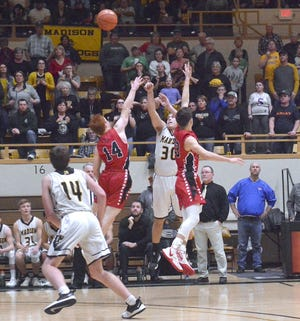 Madison's Chase Harrison sank this 3-pointer last year to beat Lebo in the Lyon County League Tournament championship game. Last week, Harrison connected on 10 3-pointers in a win over Colony-Crest.