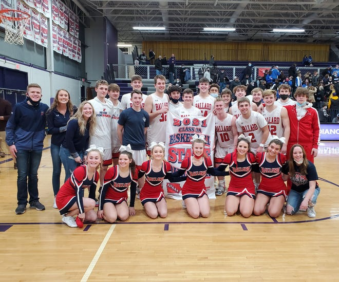 The Ballard boys' basketball team poses with its state qualifier banner after defeating Bondurant-Farrar, 66-57, in the Class 3A substate finals Monday at Indianola. The No. 1 Bombers are headed to state for the third year in a row.