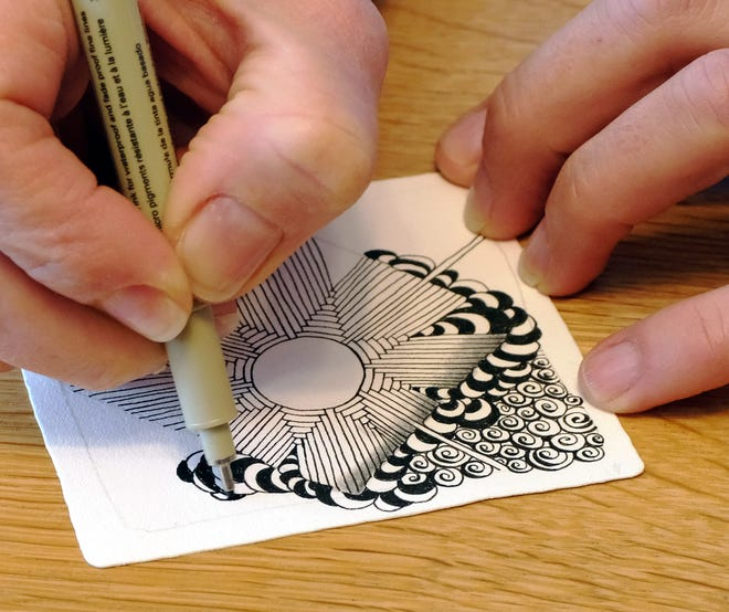 """The Zentangle Method is an easy-to-learn, relaxing and fun way to create beautiful images by drawing structured patterns. These patterns are called """"tangles"""". Tangles are created with combinations of dots, lines, simple curves, S-curves and orbs."""