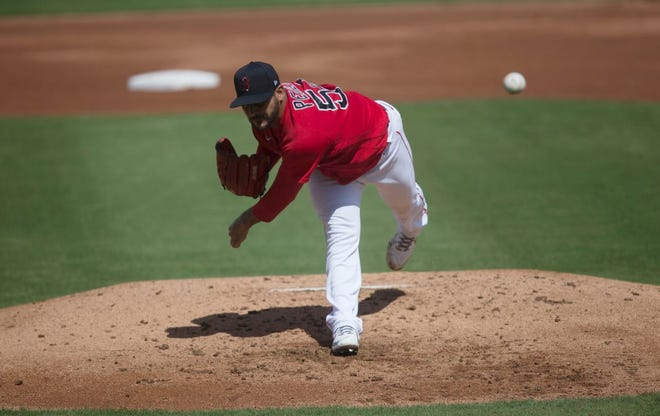 Red Sox left-hander Martin Perez delivers during his two-inning start Tuesday against the Rays.