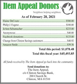 Item Appeal donors for February