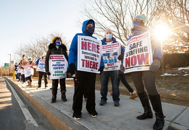 About two dozen nurses from St. Vincent Hospital returned to the picket line in their fight for safer working conditions Tuesday.