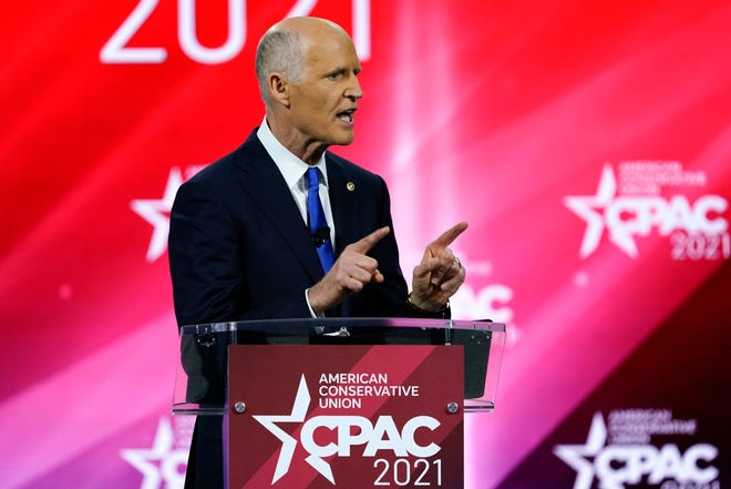 Sen. Rick Scott, R-Fla., speaks at the Conservative Political Action Conference, in Orlando, on Feb. 26.