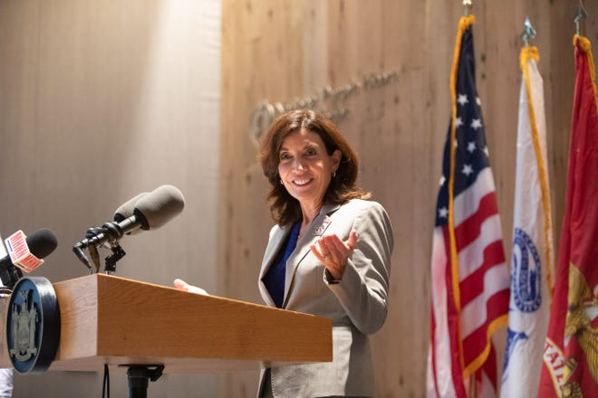 Lt. Gov. Kathy Hochul speaks at the  National Purple Heart Hall of Honor in New Windsor,  when she visited on Nov. 11, 2020.