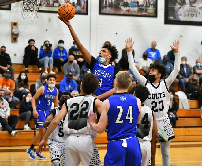 Central sophomore Kadyn Betts leans in for a layup in the Colts' 58-51 win over the Wildcats Monday, March 1.