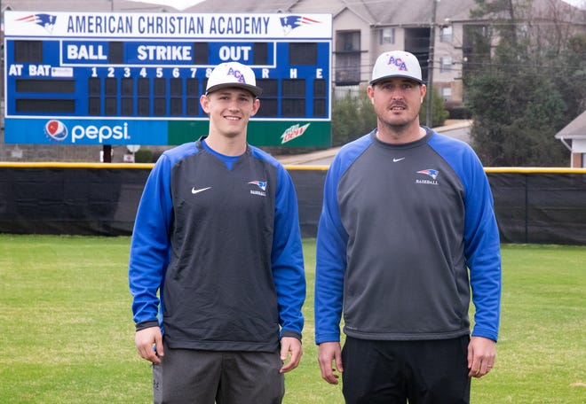 American Christian Academy's Nathan Shelton and baseball head coach Del Howell pose for a picture at ACA's baseball field. [Photo/Hannah Saad]