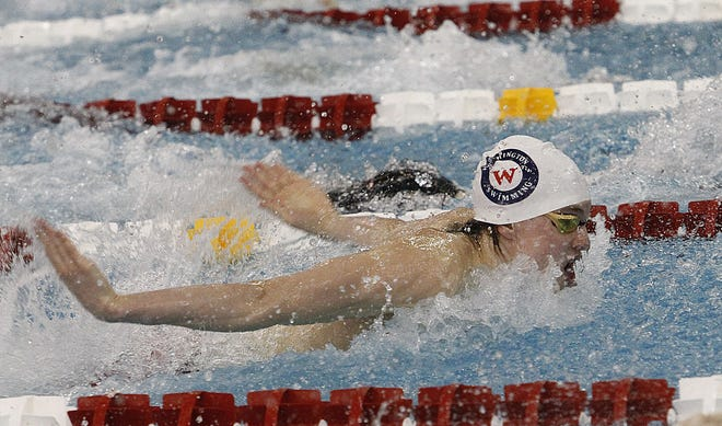 Thomas' Matt Fralic competes in the 100 butterfly in the Division I state meet Feb. 27 at Branin Natatorium in Canton. He also swam on the 200 freestyle relay and the 200 medley relay at state.