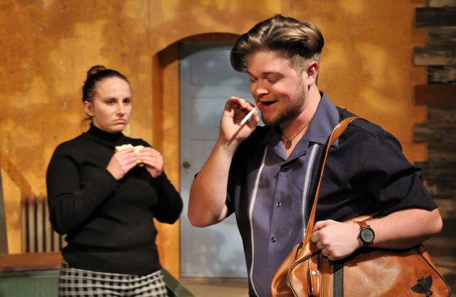 "Roat (Zane Wilchar) takes a few puffs while Carlinio (Eric Digiacamo) takes a few bites as they hatch their plan to recover heroin hidden in a missing doll in this rehearsal scene for McMurry University's ""Wait Until Dark,"" which plays this weekend at Ryan Little Theatre."