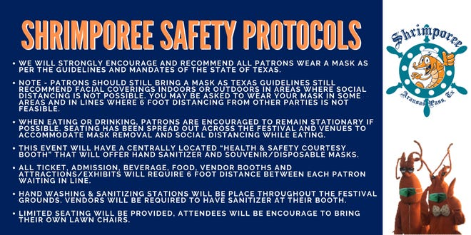 The 2021 Aransas Pass Shrimporee is taking safety procedures for all guests to help conquer the spread of COVID-19.