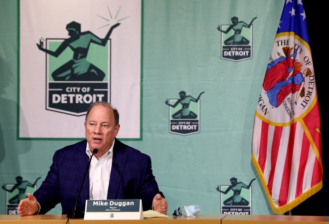 Detroit Mayor Mike Duggan talks with the media during a news conference at the Detroit Public Safety Headquarters in Detroit on March 2.