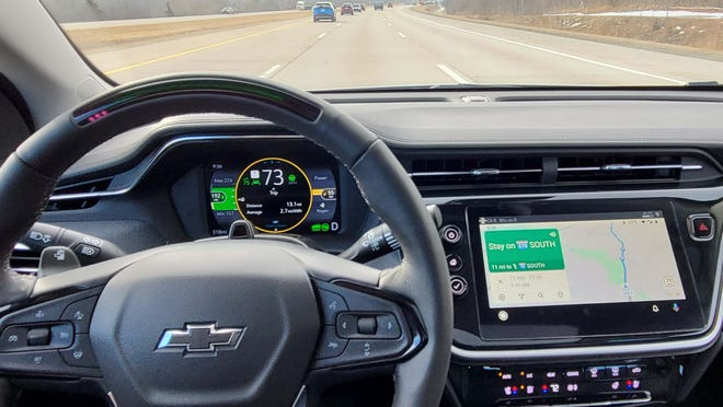 The 2022 Chevy Bolt EUV options a nav system, but Android Auto (shown) and Apple CarPlay are top notch - and work wirelessly from your phone.