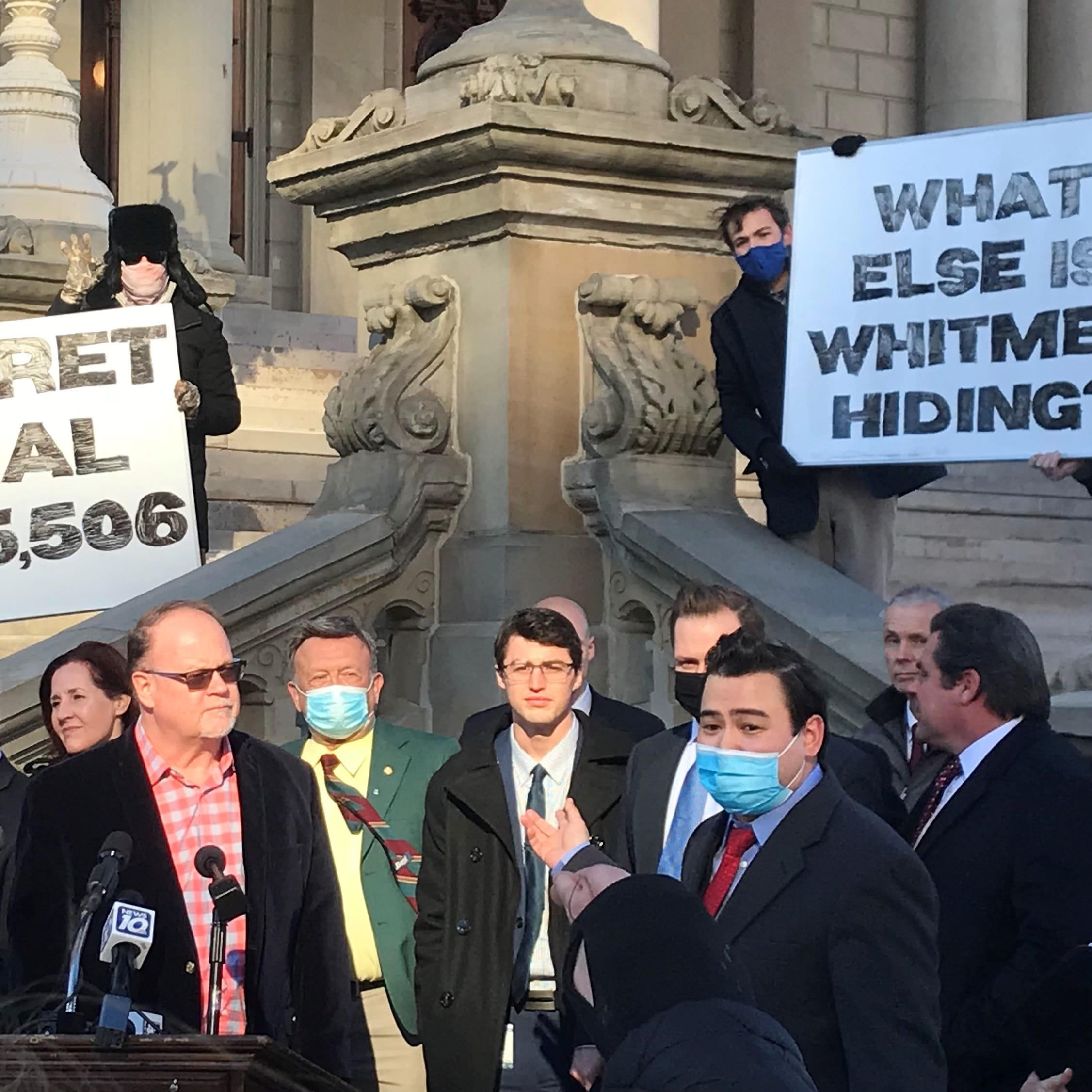 Republican state lawmakers hold a press conference on Tuesday, March 2, 2021, to criticize Gov. Gretchen Whitmer