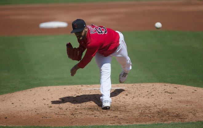 Martin Perez pitches during a spring-training game against the Tampa Rays at Jet Blue Park in Fort Myers on Tuesday.