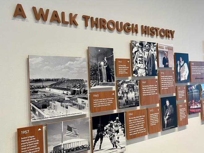 A commemorative collage on a second level wall of the Resch Expo remembers some of the notable events and visitors of the Brown County Veterans Memorial Arena era from 1957 to 2019.