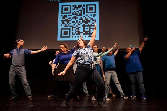 When Leslie Boudreaux Tidwell (front, center) isn't teaching at Episcopal School of Acadiana, you might find her acting in one of three improv groups.