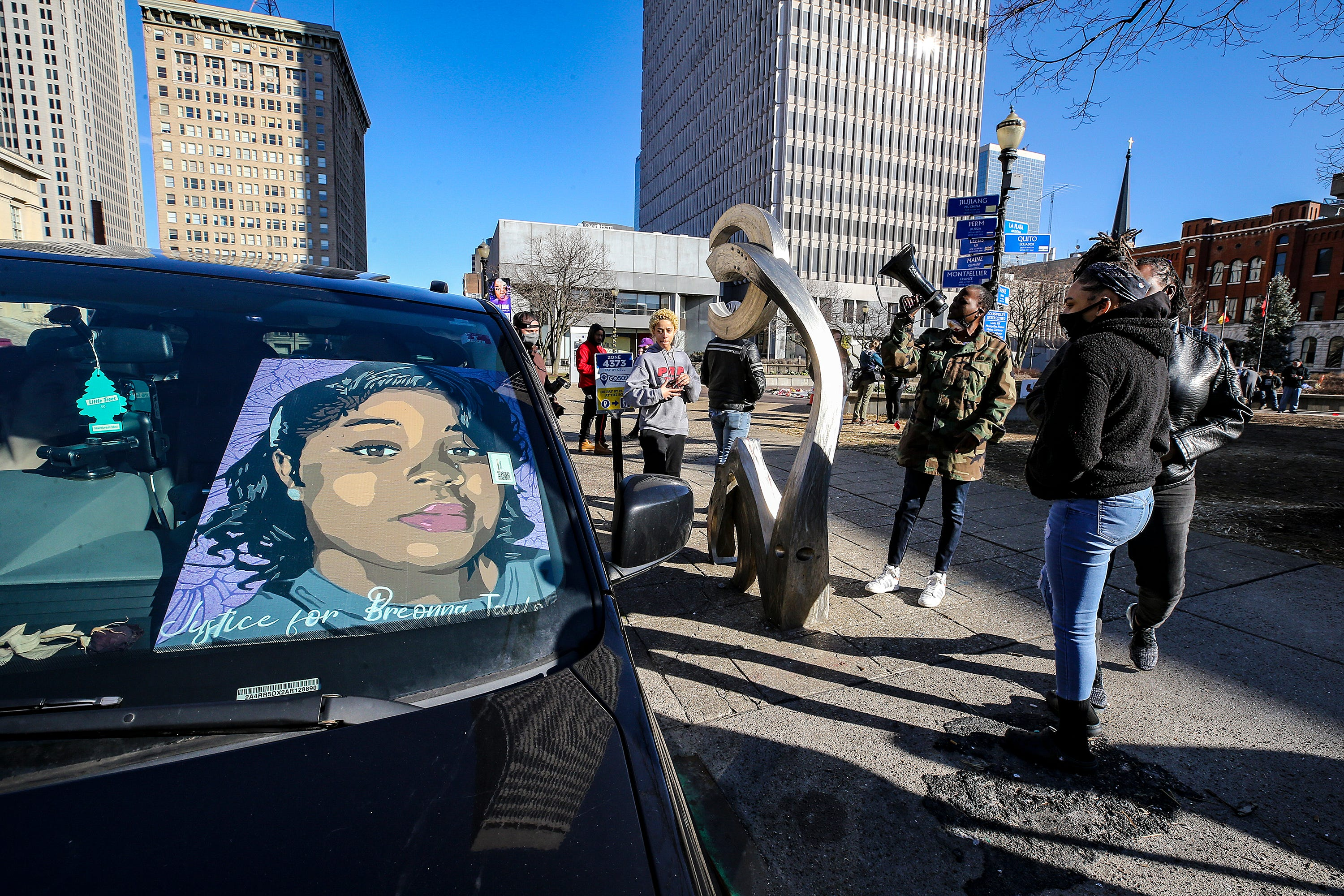 Cars gather at Jefferson Street to caravan to Frankfort for Breonna Taylor on Tuesday, March 2, 2021