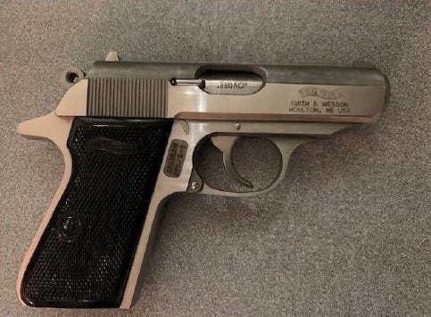 This semi-automatic .380 caliber handgun was detected in a man's carry-on bag early Saturday at a TSA security checkpoint at Milwaukee Mitchell International. The gun had a bullet in its chamber.