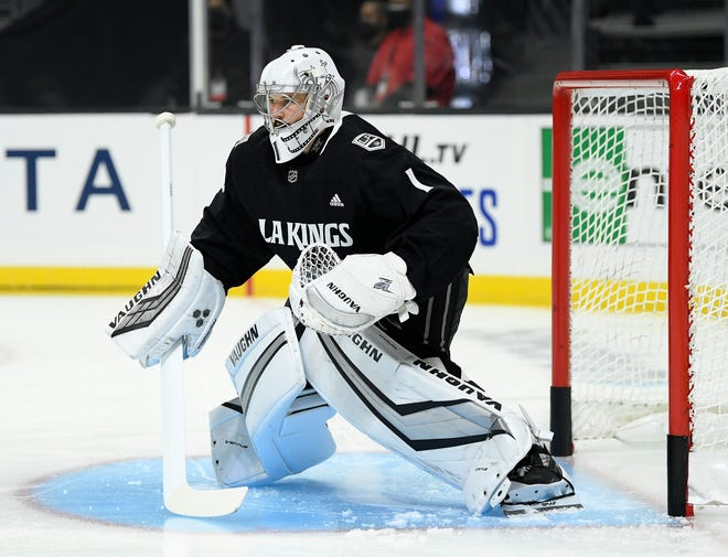 Troy Grosenick of the Los Angeles Kings warms up before the season opening game against the Minnesota Wild on Jan. 14, 2021, at Staples Center in Los Angeles.