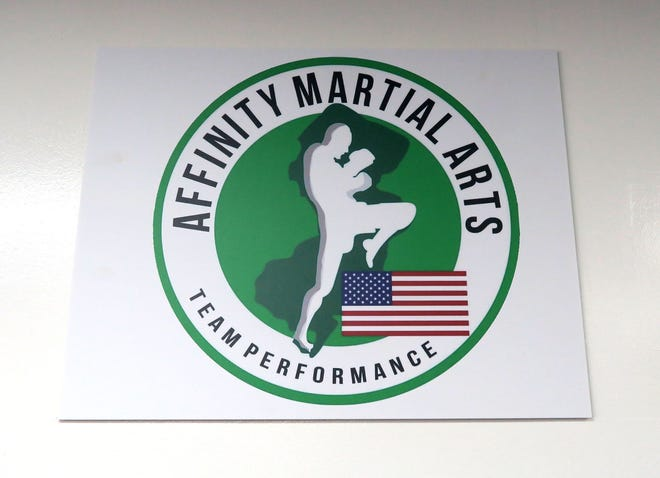 An Affinity Martial Arts logo in the Toms River studio Tuesday, March 2, 2021.
