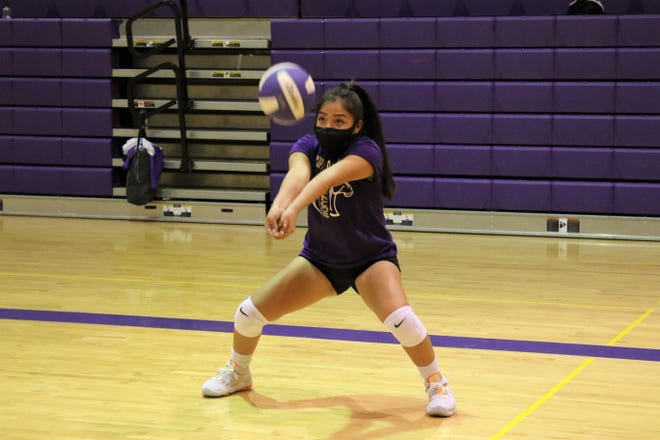 Kirtland Central libero Kayleigh Cadman, seen here during the Lady Broncos' practice on Monday, March 1, 2021, at Karlin Gym in Kirtland, tallied a team-high 162 digs last season and will be a key anchor on defense this season.