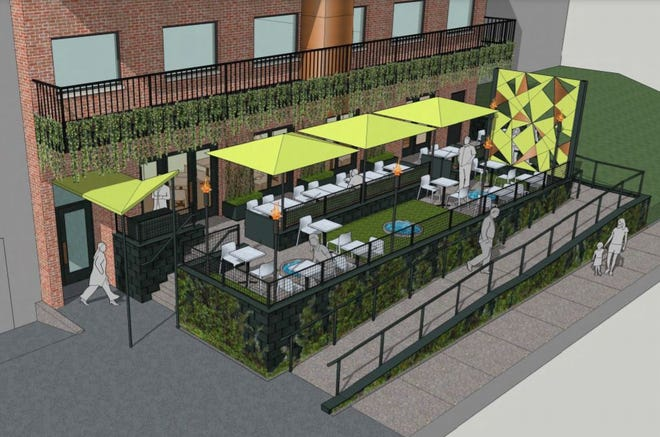 A rendering of the back of the Vinewood Kitchen & Cocktails planned at 720 N. Old Woodward.