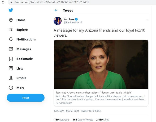 Kari Lake tweets a link to a Rumble.com post announcing that she will leave Fox 10 Phoenix.