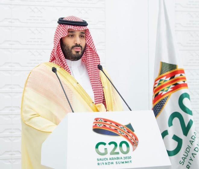 Saudi Crown Prince Mohammed bin Salman during a news conference at the closing of the G-20 virtual summit, in the capital Riyadh, Saudi Arabia, on Nov. 22, 2020. (Balkis Press/Abaca Press/TNS)