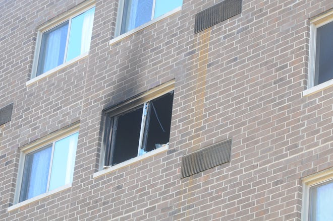 The South Building at Interfaith Apartments shows damage after a Monday, March 1, 2021, fire.