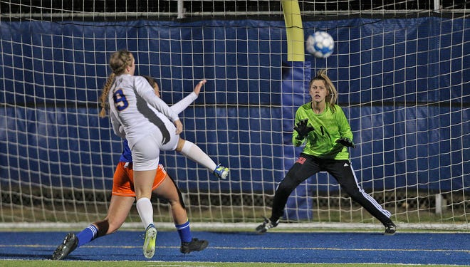 San Angelo Central goalkeeper Addie Harkleroad guards the net as a Frenship player takes a shot on goal at Old Bobcat Stadium on Monday, March 1, 2021.