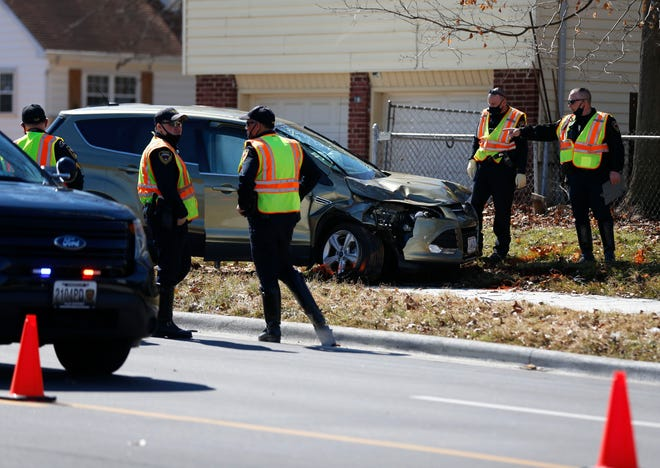 Springfield Police work the scene of an accident on South Fremont Avenue where a pedestrian was killed on Tuesday, March 2, 2021.