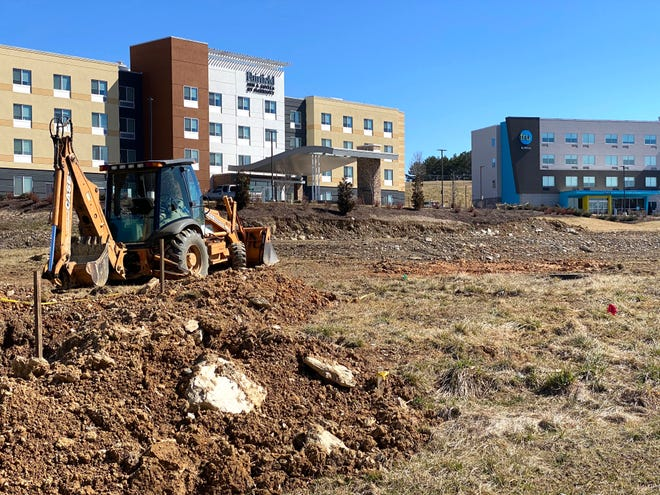 A new parcel development is in the works in front of the two hotels at Staunton Crossing, which will bring a Chipotle to the area.