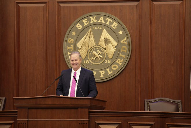 Senate President Wilton Simpson speaks to the Senate on the first day of the 2021 Legislative Session at the Capitol Tuesday, March 2, 2021.